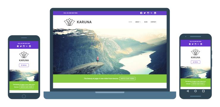 Karuna, a Responsive WordPress Theme for Health and Wellness Businesses.